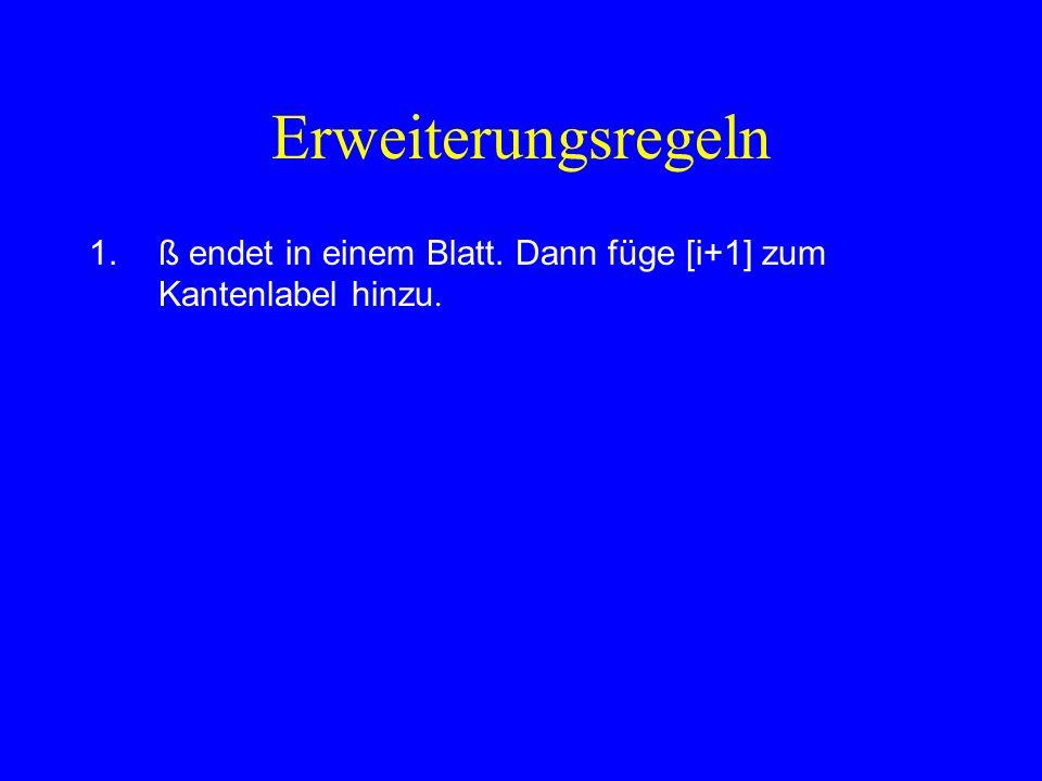Erweiterungsregeln ß endet in einem Blatt. Dann füge [i+1] zum Kantenlabel hinzu.